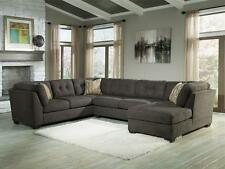ALBA Gray Microfiber Living Room Sofa Couch Chaise Sectional Set - With Ottoman
