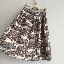 True Vintage 1950s Scenic Print Novelty Cotton Skirt UK8 W26