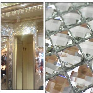 20*20 mm Mirror Mosaic Tile Beveled Crystal Diamond Shining Glass Wall Decal DIY