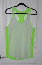 Womens Under Armour Semi Fitted Lime Green / White Silky Yoga Workout Tank Large