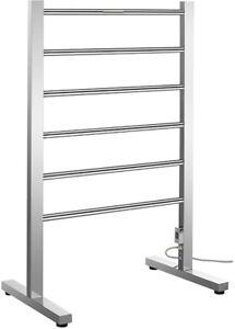 Electric Towel Warmer Rack 6-Bar Stainless Steel Floor Mounted in Brushed Nickel