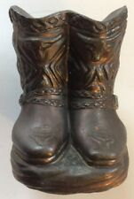 Cowboy Boot Bank Collectible Vintage Copper? Metal Western Spurs Heavy 4 x 4""