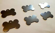 PET TAGS BONE PEWTER COLOR (4.0cm) ID 2 SIDE DIAMOND ENGRAVE DOG CAT NAME TAG