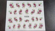 Nail Art Water Transfer Decal Stickers Dark Purple Flowers Green Leaves 1026