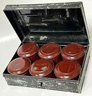 Antique Vintage Toleware Spice Tin Cans In Original Primitive Tray Box Set of 6