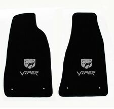 NEW! Black Floor Mats 1999-2002 Dodge Viper Silver Embroidered Logo Snake Head