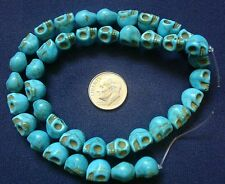 """16"""" Turquoise skull beads day of the dead reconstituted howlite 40 pcs  bs047"""