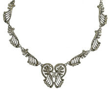 6.20cts Rose Cut Diamond Antique Victorian Look 925 Silver Necklace