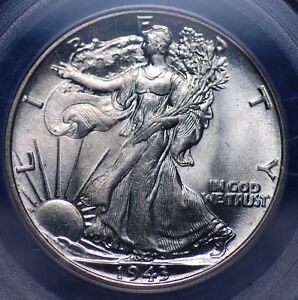 1943 P WALKING LIBERTY HALF DOLLAR PCGS MS 64 ALL WHITE AND VERY CLEAN
