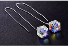 Sterling Silver Jewelry Earrrings Long Thread CUBE made with SWAROVSKI Crystal