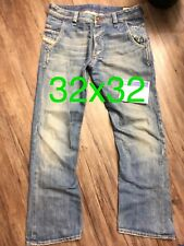 Diesel Blue Jeans Preeto Mens 32x32 Faded And Distressed Wide Leg Wash 00796