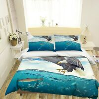 3D Eagle Fish P392 Animal Bed Pillowcases Quilt Duvet Cover Set Queen Kay