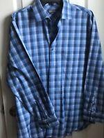 Kenneth Cole Reaction Dress Shirt Slim Fit- Size 16 32-33 - Blue