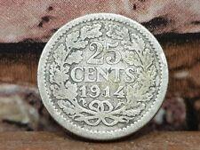 1914 WILHELMINA DUTCH 25 CENTS SILVER COIN