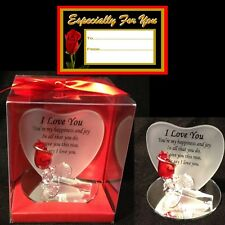 I LOVE YOU RED ROSE GLASS HEART SHAPED VERSE PLAQUE GIFT ANNIVERSARY FIANCEE S