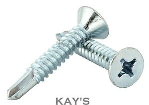 COUNTERSUNK SELF DRILLING TEK SCREWS ZINC PLATED METAL FIXING WINDOWS ROOFING