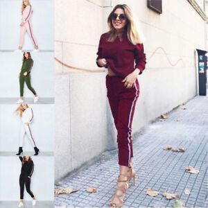 Women's 2 PCS/Set Tracksuits Ladies Striped Active Sport Loungewear Size 6-20 UK