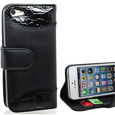 Black Snake Skin Patten Side Wallet Leather Case Cover for iPhone 5 + Screen Gd