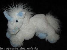 Doudou Cheval Licorne blanc et bleu fourrure Gipsy