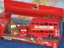 DISNEY PIXAR CARS 2 CHARACTER STARS DOUBLE DECKER BUS, MATER, McQUEEN 3 PACK HTF
