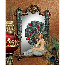 1920s Style Nude Peacock Maiden on Pillow Feather with Cabochons Wall Mirror