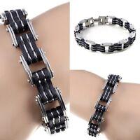 Fashion Men's Black Silver Stainless Steel Rubber Biker Bracelet Bangle Jewelry
