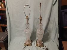 Vintage, Cut Glass or crystal table lamps with brass base