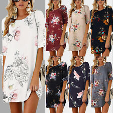 Damen Kleider Sommerkleider Tunika Kleid Minikleid Kurzarm Lang Top Blusen 32-48