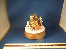 "Vintage Anri Hand-Carved Wood Sleighride Couple ""Lara's Theme"" Music Box Mint"