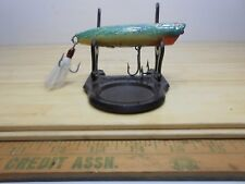 Wood Topwater Chugger Fishing Lure Green Red White w/ Sparkles.