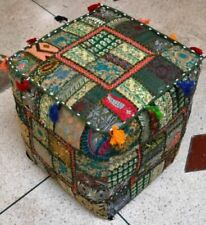 """Indian 18"""" Patchwork Ottoman Footstool Square Pouf Cover Vintage Handmade Throw"""