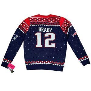 Tom Brady New England Patriots NFL Ugly XMAS Christmas FOCO Sweater Large NWT