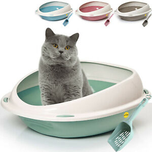 Cat Large Jumbo Litter Tray With Rim + Scoop Open Toilet Box Set CatCentre®