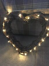 Shabby Chic Large Wicker Heart With Berries And Lights ( Battery Operated)