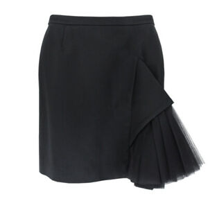 Christopher Kane Black Satin Tulle Kick Pleat Skirt UK10 IT42