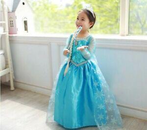 NEW Girls Dress Costume Princess Elsa Cosplay Birthday Party size 1-10 years