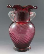 Vintage Fenton Cranberry & Clear Glass Vase w/ Ruffled Rim and Applied Handles
