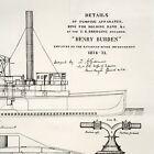 1875 Henry Burden Steamship Lithograph U.S. Dredging Steamer Dredging Apparatus