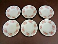 Vintage Set of Six Saucers With Pink Roses Orange Pagoda Mark (#12A015)