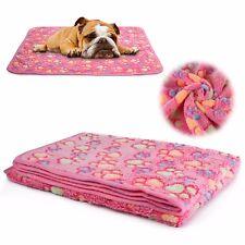 Pet Dog Cat Puppy Kitten Soft Blanket Doggy Warm Bed Car Mat Paw Print Pink