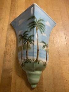 Palm Tree Flower Vase Wall Pocket Tropical Wall Vase Pocket Ceramic