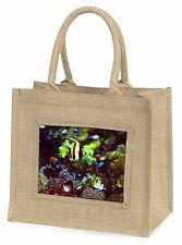 Tropical Fish Large Natural Jute Shopping Bag Christmas Gift Idea, AF-T40BLN