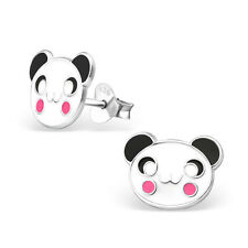 925 Sterling Silver white panda face stud earrings childrens gift 12mm x 9mm
