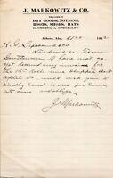 Vtg 1912 J Markowitz Dry Goods Store Athens Alabama AL Letterhead Receipt Letter