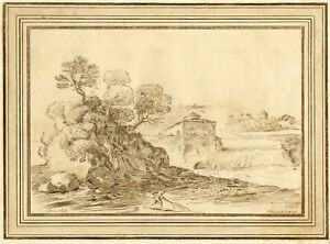 James Basire after Guercino, Italian Landscape with Waterfall – c.1765 etching