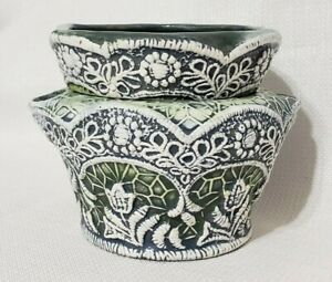 Vintage African Violet Embossed Floral Design Self Watering Pot Ceramic Vtg