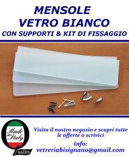 mensole vetro bianco 60 X 15 da 6 mm con kit di fissaggio disponibili su misura