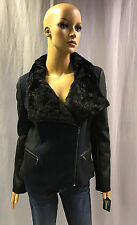 NEW GUESS FAUX FUR COLLAR MIXED MEDIA MOTO JACKET SZ XL EXTRA LARGE