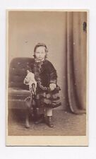 OLD CDV PHOTOGRAPH YOUNG GIRL WITH TOY DOLL FOREST GATE ANTIQUE 1870S (384)