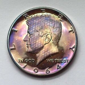 1964 KENNEDY SILVER 50 CENTS PERFECT PROOF AMAZING COLOR!! SCARCE THIS NICE!!